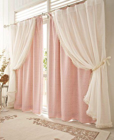 ستائر غرف نوم شيفون باللون الروز Curtains Living Room Layered Curtains Home Curtains