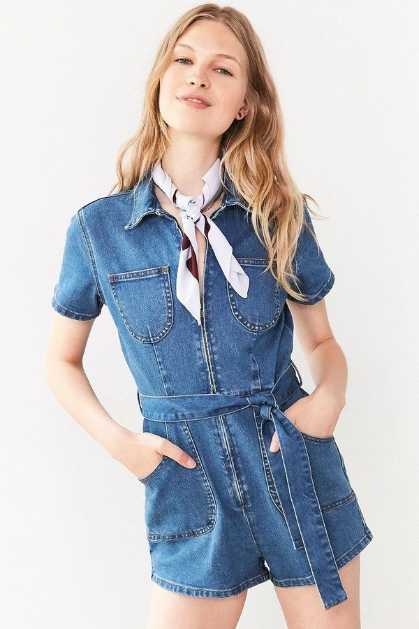 becee5abdef MINKPINK Under Construction Zip-Front Denim Romper