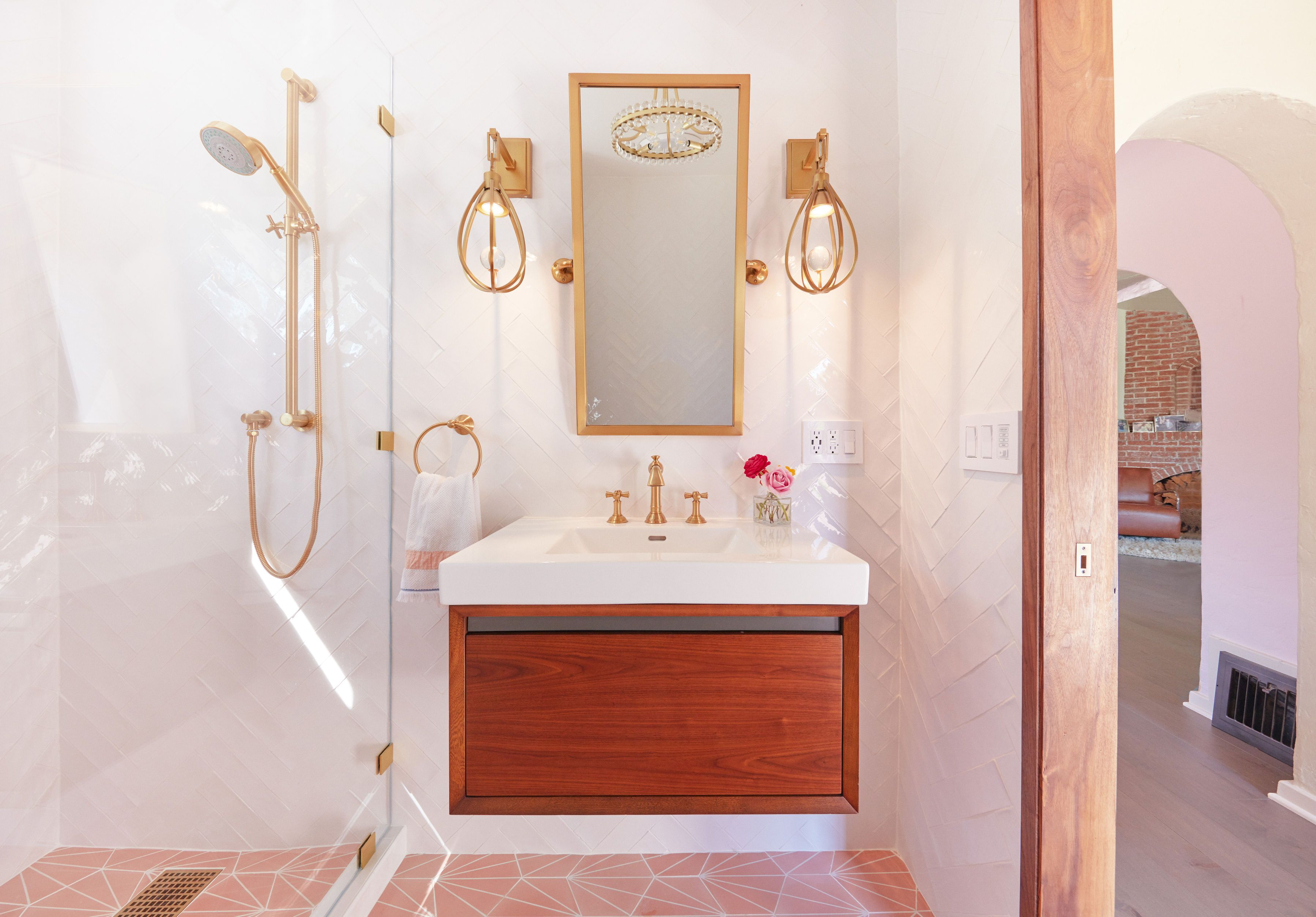 Guest bathroom addition with pink cement tiles, walnut ...