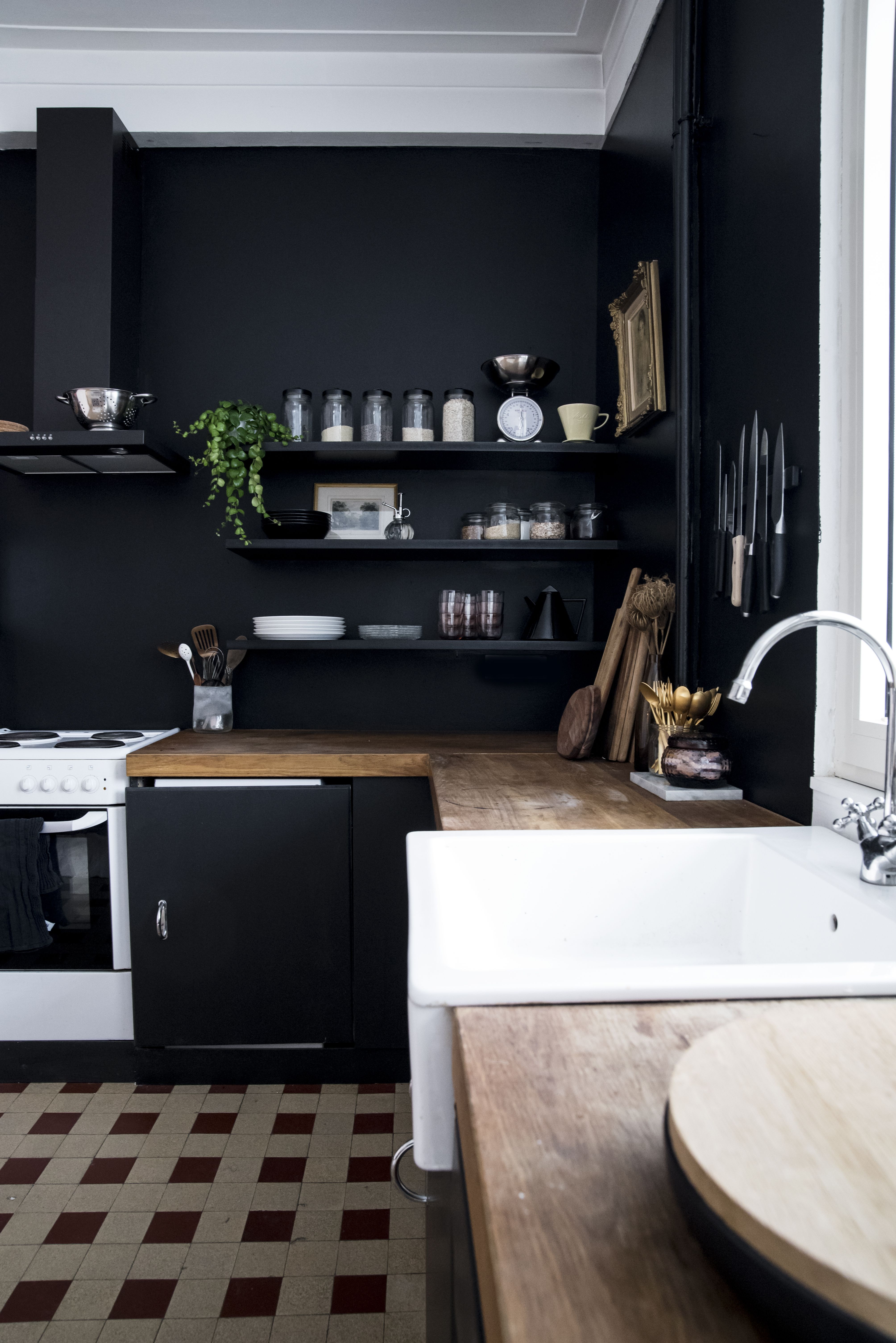 ere I am with the reveal of our black kitchen walls Back in the ...