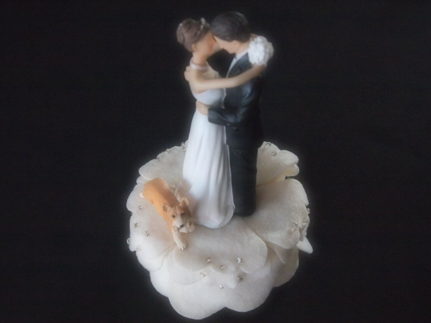Cake topper wedding ivory bride groom corgi dog many dog breeds u