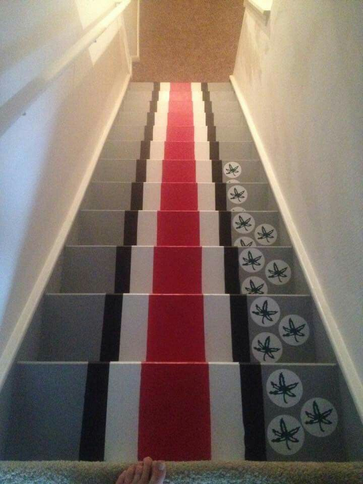 Ohio State Man Cave Bar Basement Stairs