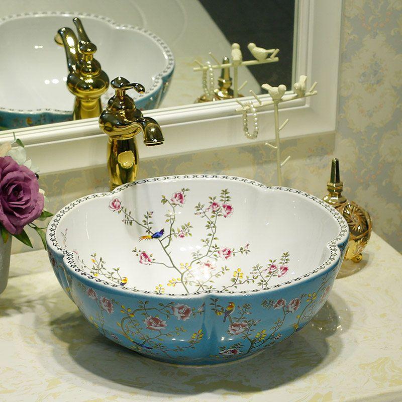 Blue And White Jingdezhen Bathroom Ceramic Sink Wash Basin Counter Top Wash Basin Bathroom Sinks Antique Sink Vanity Flow Bathroom Sink Ceramic Sink Wash Basin