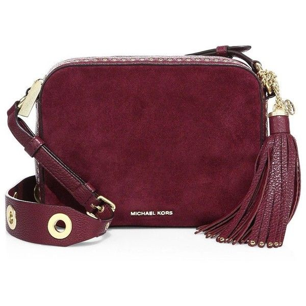 5d2793c55d9e MICHAEL MICHAEL KORS Brooklyn Large Grommeted Suede Camera Bag ( 415) ❤  liked on Polyvore