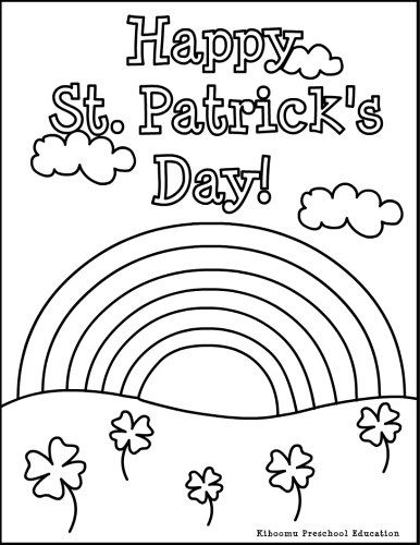 Free Rainbow coloring page for children Happy St Patricks Day