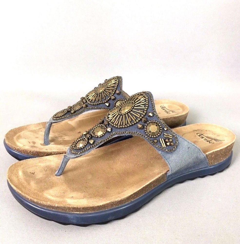 e6a50d96af26  135 EUC DANSKO Pamela Thong Sandals Women s 41 10.5 11 Jewelled Black  Leather  Dansko  Thongs