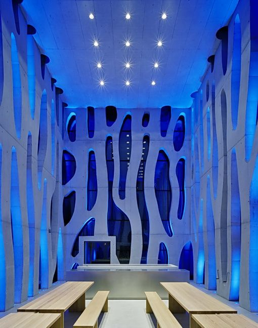 """LED lighting sequences bath the interior of the """"Nordwesthaus"""" on Lake Constance, Austria."""
