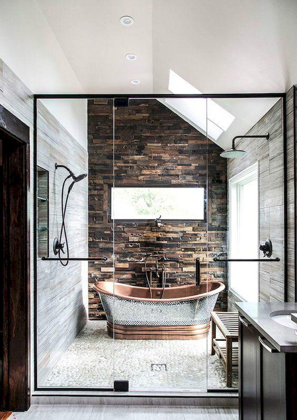 60 stylish farmhouse bathroom with brick wall decor ideas
