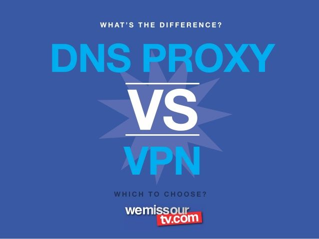 What is the difference between Smart DNS Proxy vs VPN Service by WeMissOurTV via slideshare
