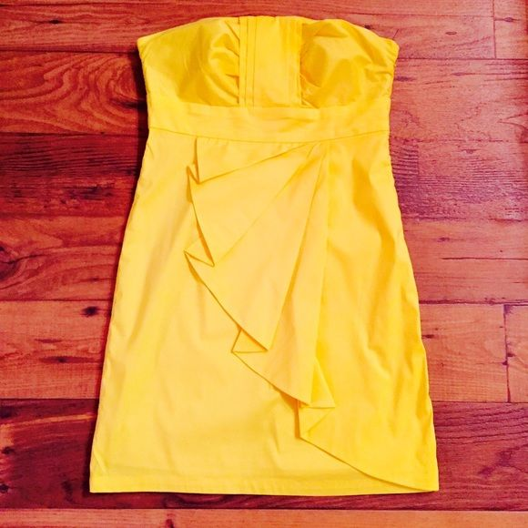 Canary yellow strapless dress
