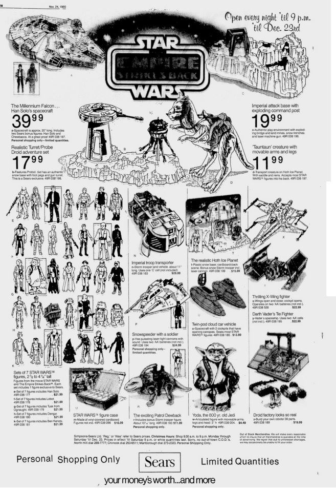 Star Wars: The Empire Strikes Back Kenner toys and figures at Sears #StarWars…