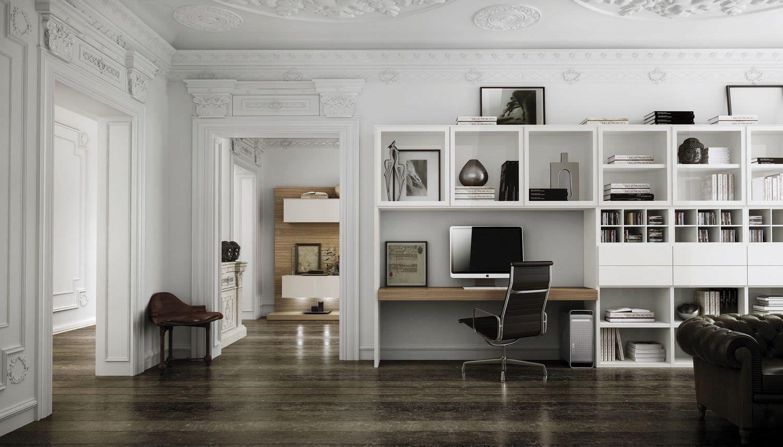Risultati immagini per libreria con scrivania in sala