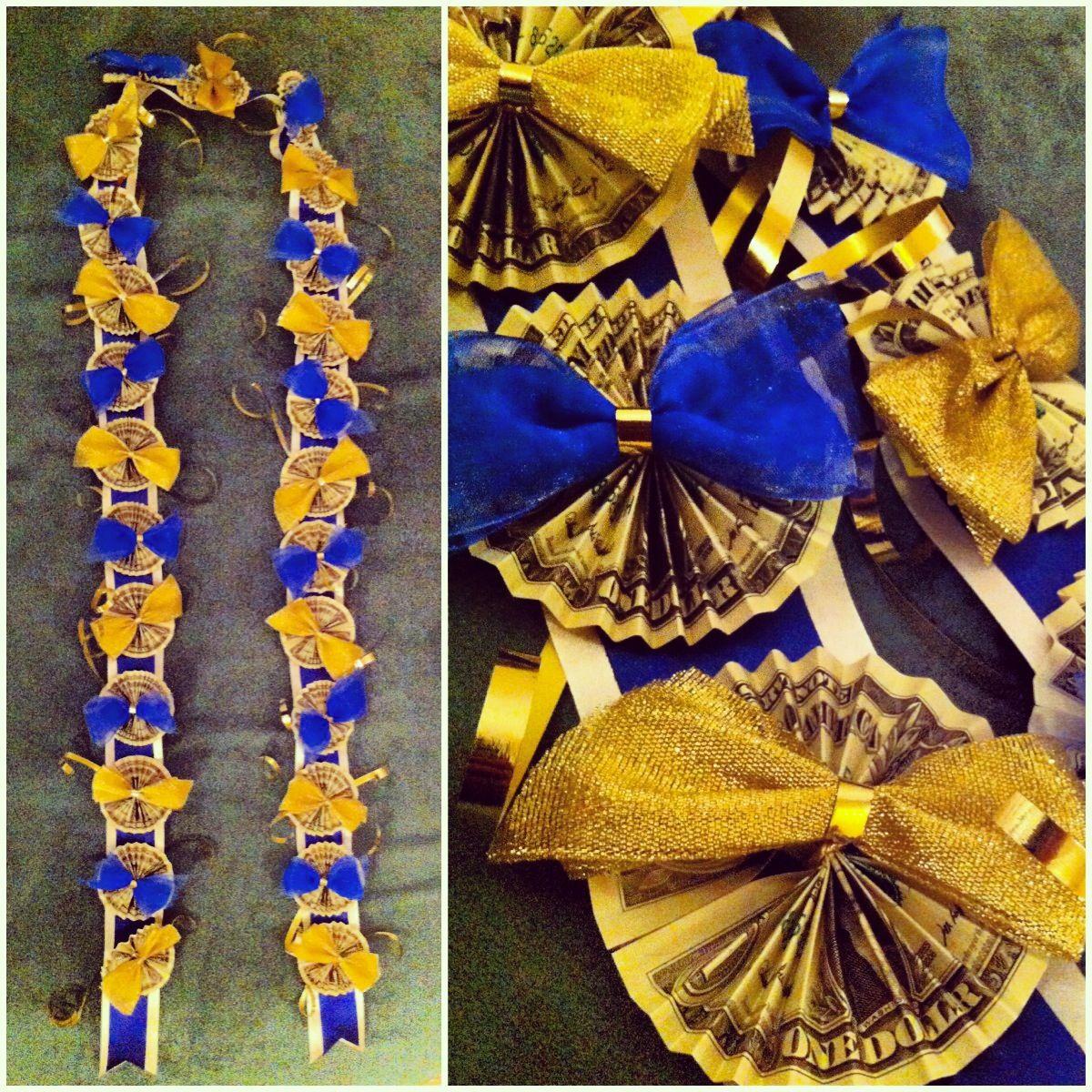 Diy graduation money lei in blue and gold diy