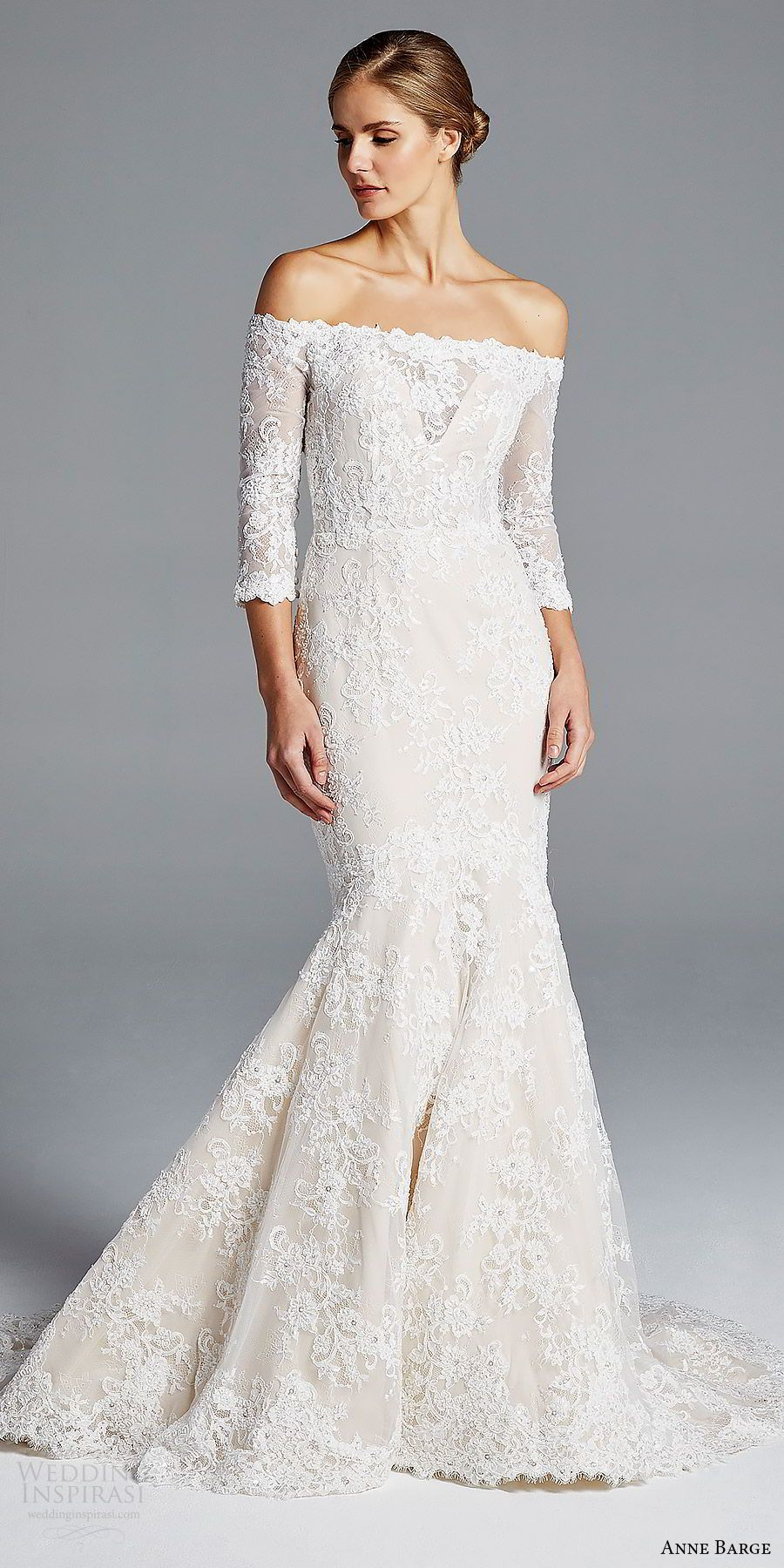 Wedding dresses with lace sleeves off the shoulder  Anne Barge Spring  Wedding Dresses  Wedding Dresses  Pinterest