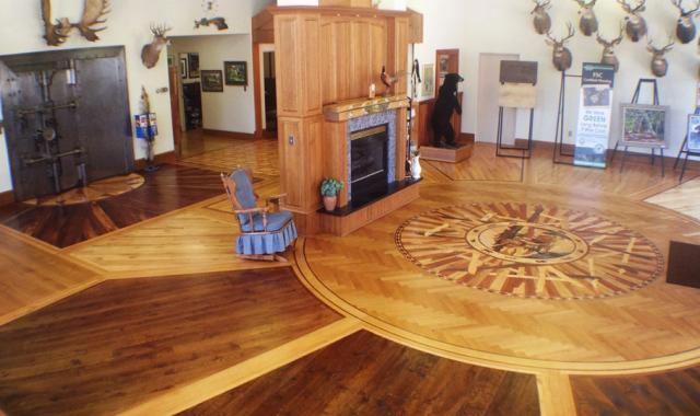 Multi colored bamboo wood flooring to create a very fun