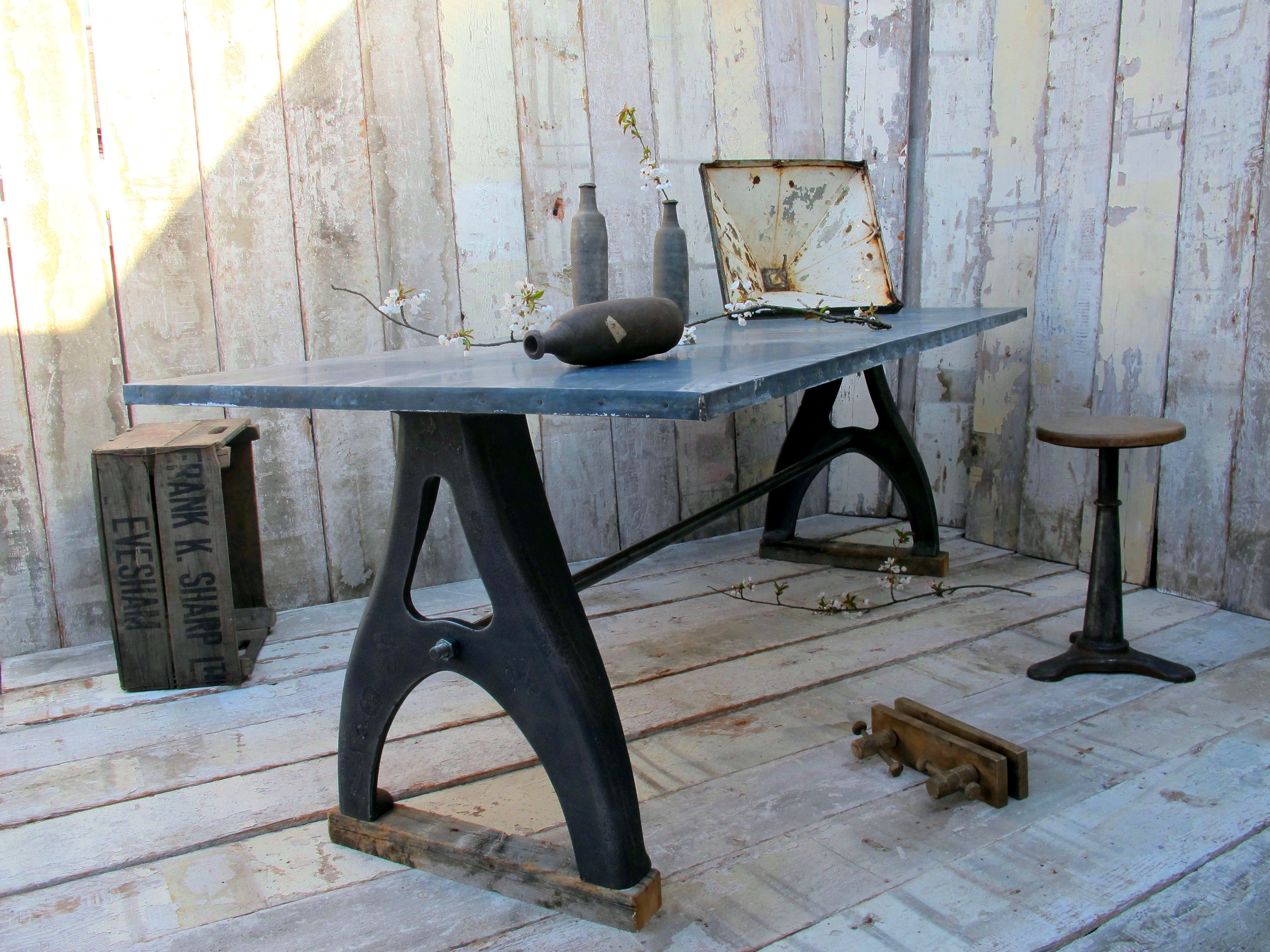 Cast Iron base table with zinc top