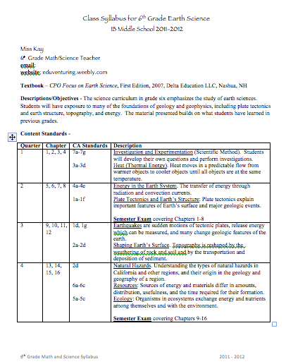 Back To School Middle Syllabus Template Good Stuff