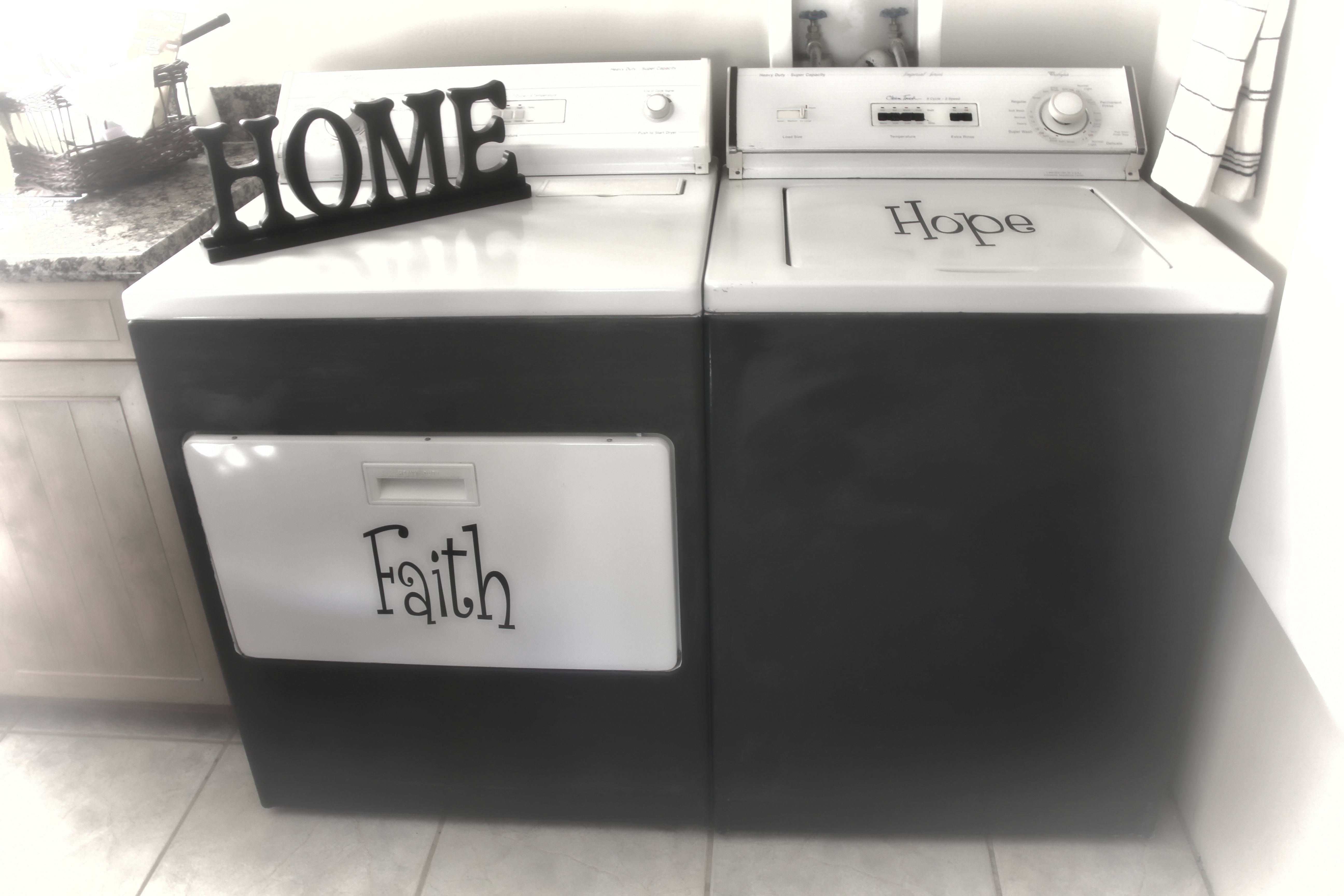 Washer And Dryer Makeover Painted With Chalk Paint And Wording