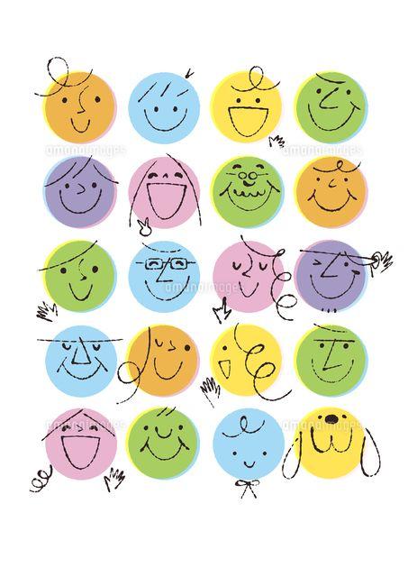 丸の人々の顔 C Formmart かわいい イラスト 手書き イラスト
