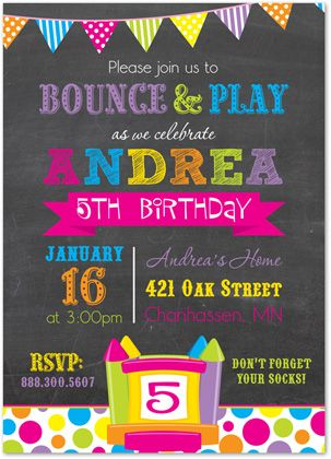 Girl Bounce House Invitations Pump It Up Invitations Bright