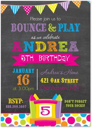 Girl Bounce House Invitations Pump It Up Invitations Bright