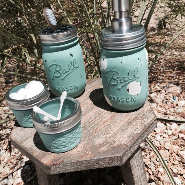 Shabby chic rustic Robin Egg blue mason jar 4 piece bath set. Custom designs/colors available! https://www.facebook.com/FoundTreasuresandArtfulCreations