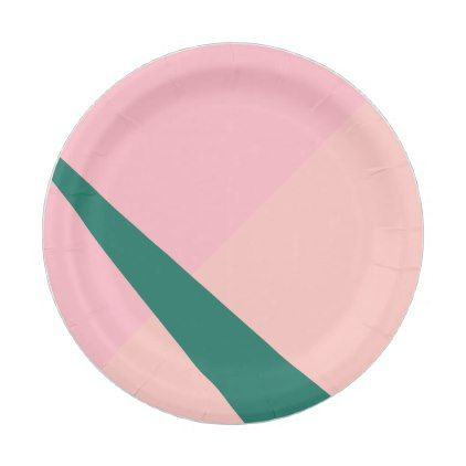 Elegant geometric pastel pink peach green paper plate - kitchen gifts diy ideas decor special unique  sc 1 st  Pinterest & Elegant geometric pastel pink peach green paper plate | Green paper