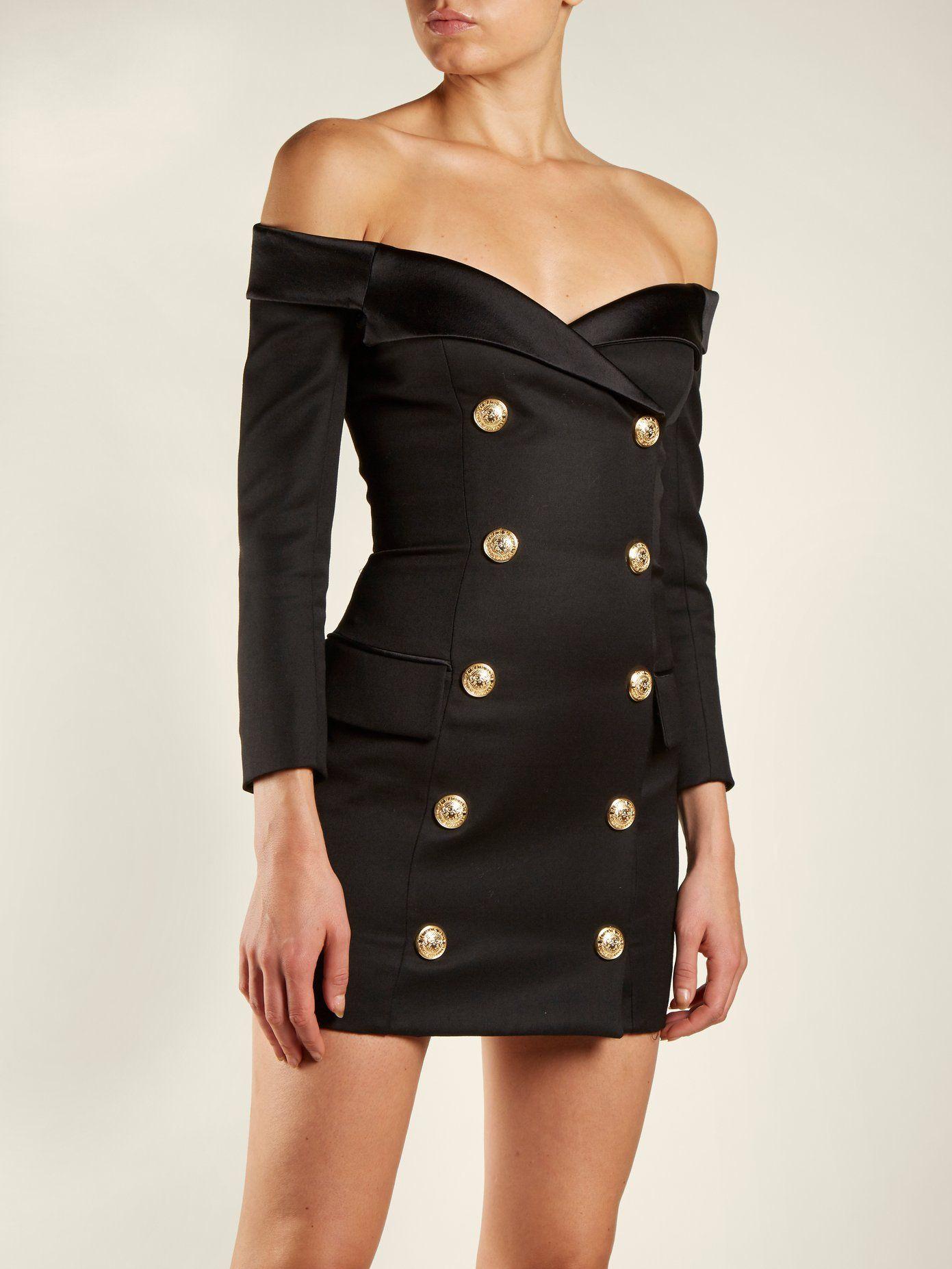 9bf82668 Off-the-shoulder button-embellished dress | Balmain | Fashion Lust ...