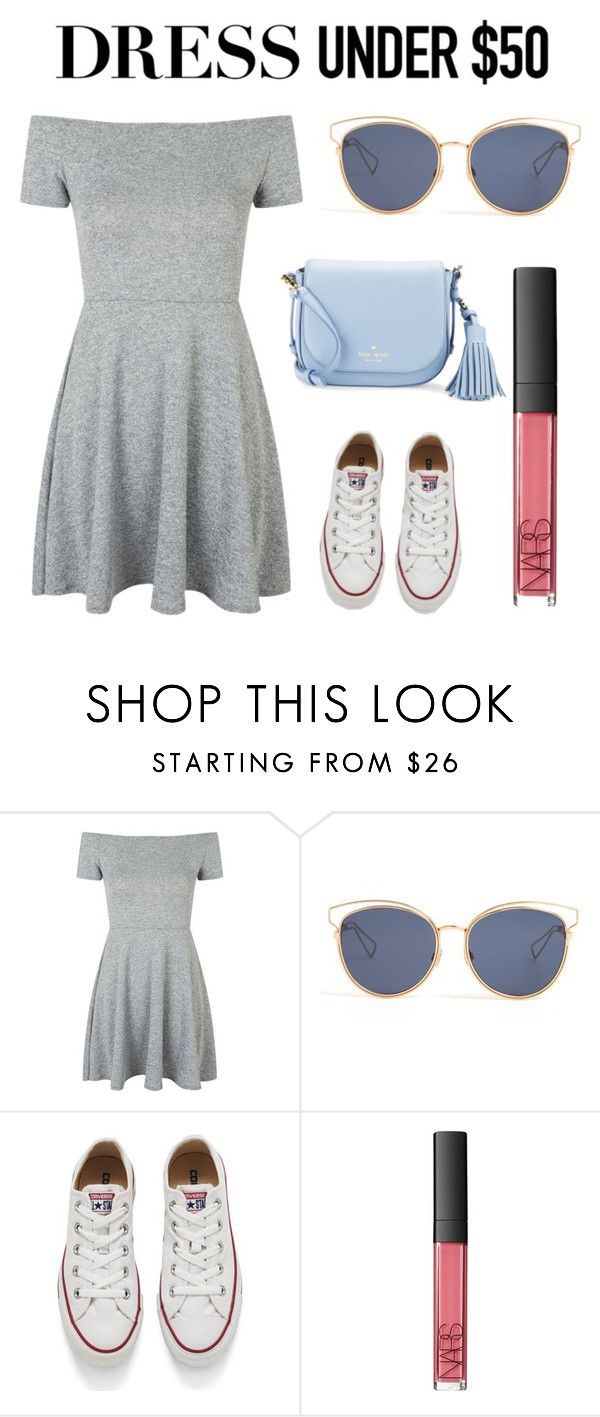 """""""My dress under $50"""" by irispoppelaars ❤ liked on Polyvore featuring Topshop, Christian Dior, Converse, NARS Cosmetics, Kate Spade and Dressunder50"""