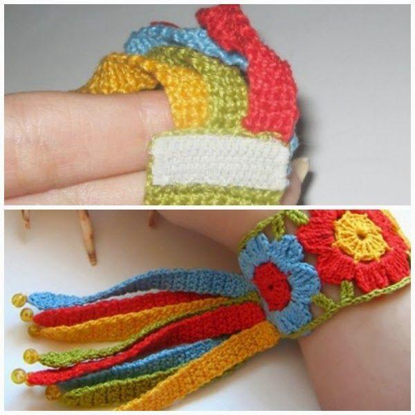Brazalete Flores Arco Iris de Crochet - Patrones Crochet | βελονακι ...