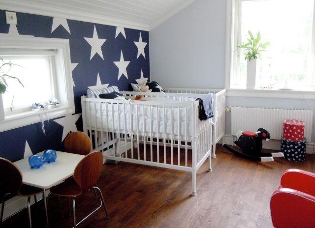 wandfarbe kinderzimmer junge marineblau weiße sterne, Moderne deko