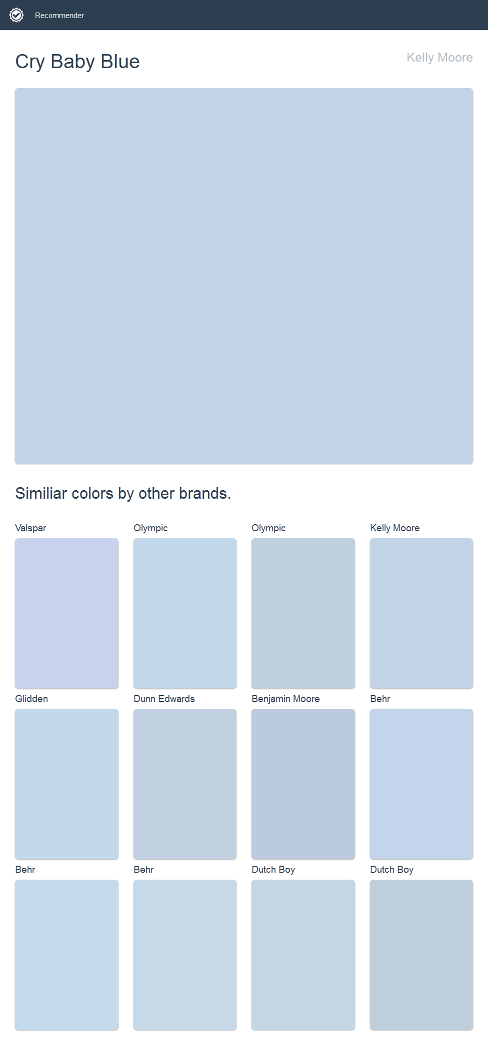 Cry Baby Blue Kelly Moore Click The Image To See Similiar Colors By Other Brands Kelly Moore Paint House Paint Exterior Glidden Paint