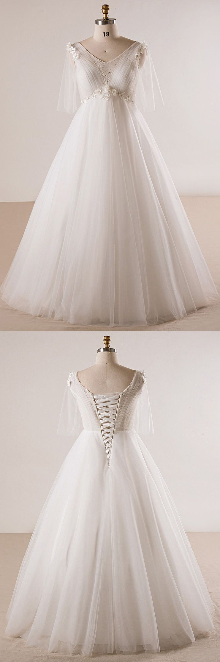Plus size ivory beaded flowers empire waist long tulle wedding dress