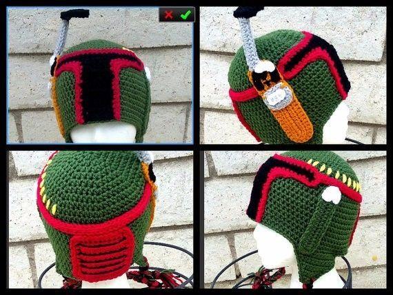 boba fett helmet,boba fett costume,halloween costume,crochet boba fett,kids clot #Handmade #AviatorTrapper
