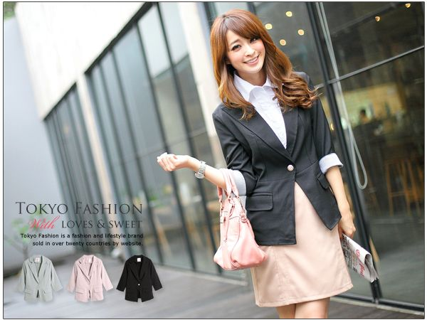 SC00257 - Silver Button V Collar Blazer.  Materials: Cotton Suit, moderate thickness, non-stretchable with 2 front pockets and a spare button, no inner layer.  Size (flat, cm): Length 61, shoulder 38, bust 46, waist 39, hem 46, sleeve length 43, cuff 12.  Color: Pink / Black