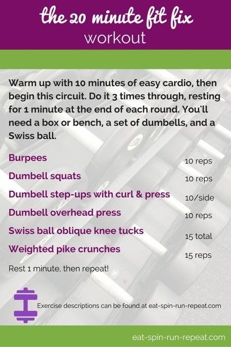 ee89951f1 Fit Bit Friday 209  The 20 Minute Fit Fix Workout - A total body strength  and cardio mix with minimal equipment.