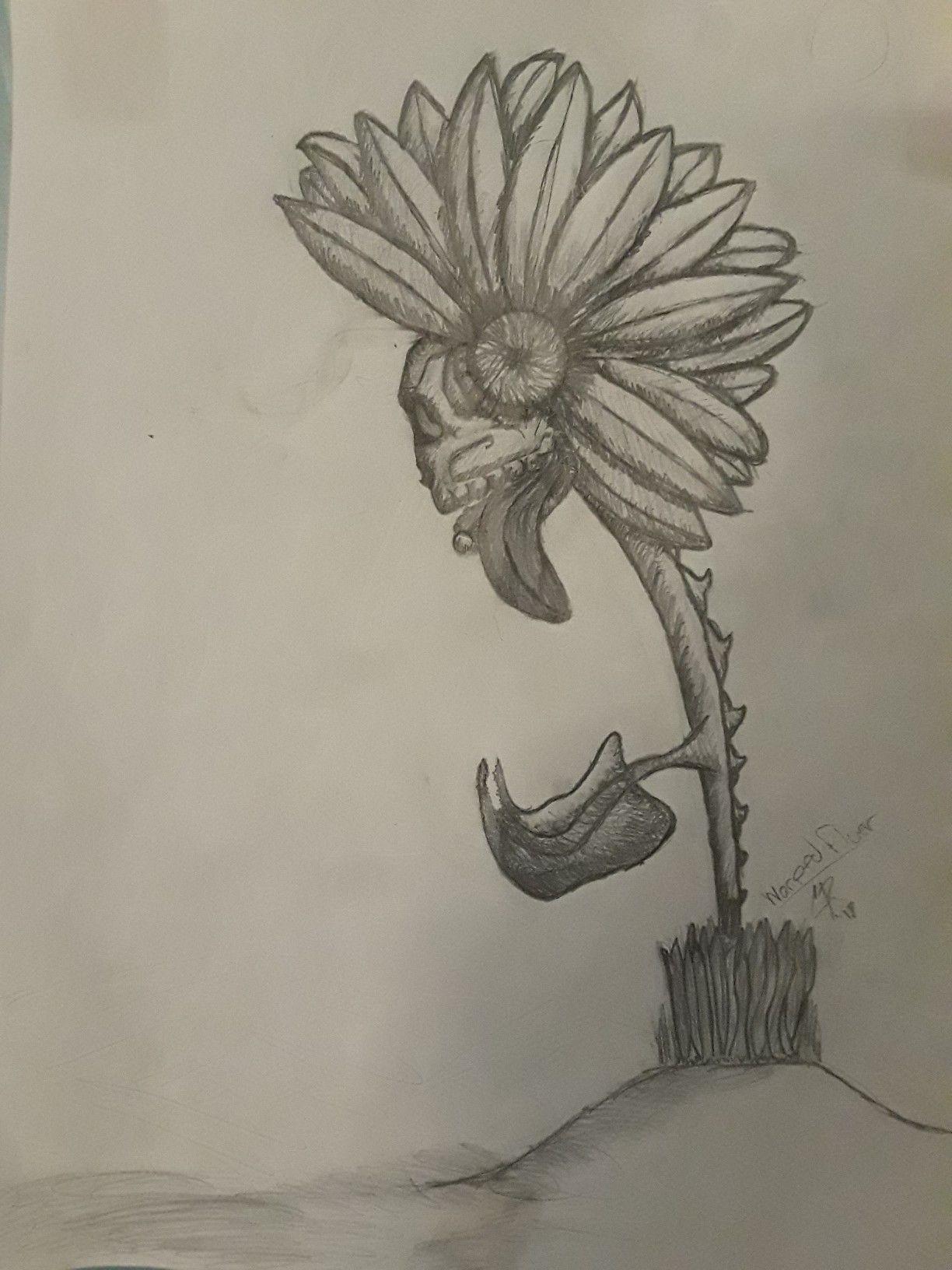 Warped fluer punk flower drawing sunflower sketch idrewthis