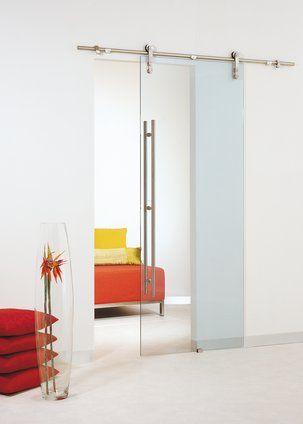 Transparent Glass Barn Sliding Door With Stainless Steel Hardware