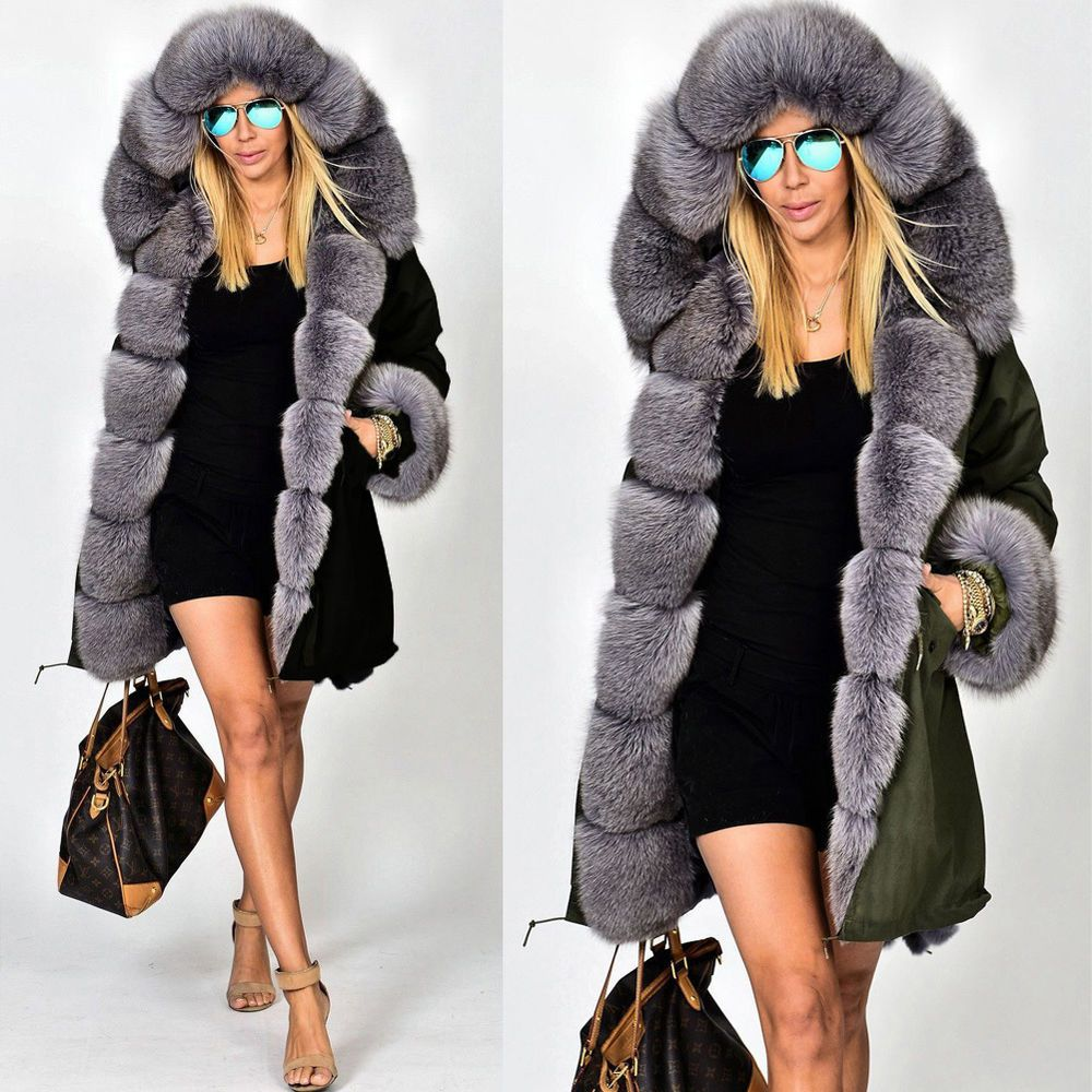 Roiii NEW Womens Faux Fur Hooded Jacket Winter Warm Parka Coat Long Outwear  Tops