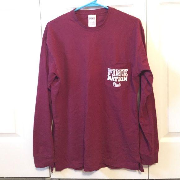 VS Pink long sleeve t-shirt Burgundy long sleeve t-shirt with ...