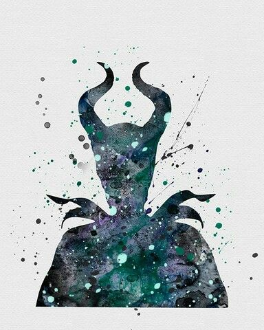 Watercolor Maleficent Malevola Desenho Arte Da Disney