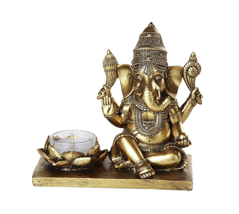Hindu God Ganesha Elephant Headed Deity Meditation Candle Burner 6 inch