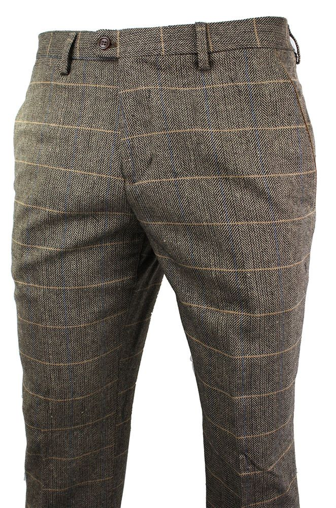 4d7941eeb4 Details about Mens Vintage Tweed Check Trouser Herringbone Tan Brown ...
