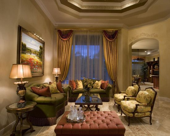 Living Room Designs Traditional Amusing Traditional Family Room Green And Rose Color Schemes Design Design Inspiration