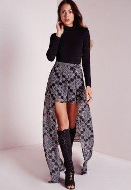 Paisley Print Maxi Skirt Shorts Black