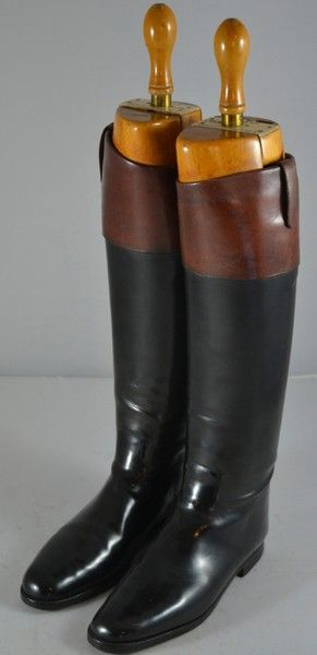 834defde Foxhunter's 1930s' Peel & Co London Mahogany Top Black Riding Boots & Trees