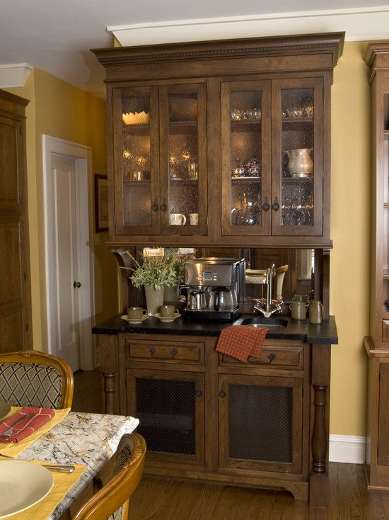 Coffee Bar My Favorite Make Out Of China Cabinet Or Desk Hutch Add Mini Fridge For Creamers