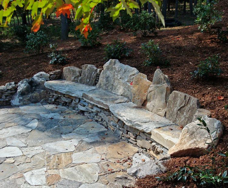 Diy stone bench google search gardening accents for How to build a river rock patio