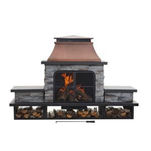 Endless Summer 36 in. W Weathered Grey Finish Round Aluminum LP Gas Fire Pit with Integrated Ignition, Black Fire Glass and Cover-GAD15401SP