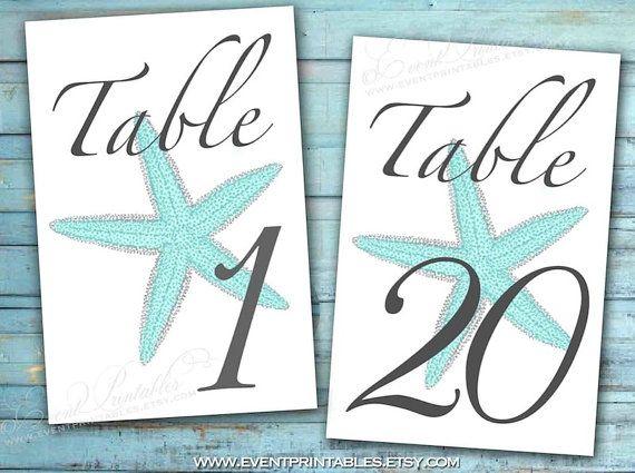 1 To 40 Printable Starfish Table Numbers Aqua Blue Grey 4x6 5x7